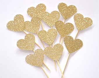 Glitter Heart Cupcake Topper - Wedding - Engagement - Bridal Shower - Baby Shower - Birthday - Cake Topper -  Food Picks - MULTIPLE COLORS