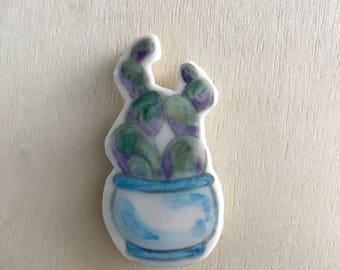 Cactus Magnet Painted Porcelain