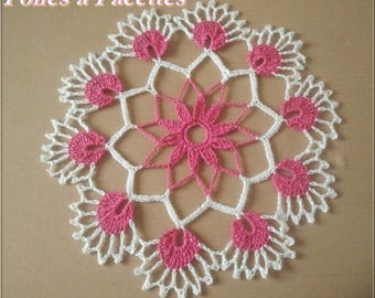 Lace round doily flower crocheted Fuchsia and white