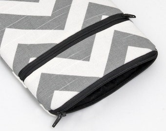 """Kindle Fire HD 6"""" case, iPad Pro 9.7 Cases, Nexus 9 Pouch, iPad Mini 2 3 Cover Padded, Surface Pro 2 - ash gray and white chevron stripes"""