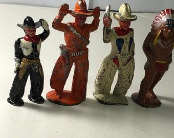 Four Early Barclay Manoil Lead / Iron Toy Cowboys and Indians