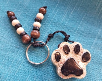 Mini Dog Paw Keychain, Dog Lovers, Beach Paw, Beach Jewerly, Beach Lovers, Summer Jewerly, Ocean Lovers, Sand Beach