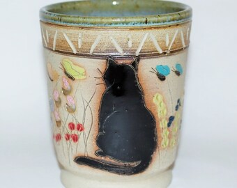 Handmade Pottery Handless Mug Black Cat High Fired Stoneware