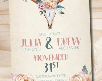 Floral Skull Save the Date, Custom Save the Date - Printable digital file or printed invitations