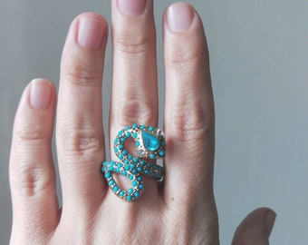 Faux Turquoise Bead Stone Serpent Ring