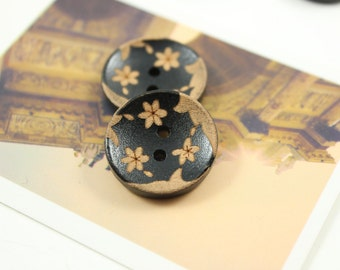 Flower Wood Buttons - 10 pieces of Black Wooden buttons with Three Apricot Color Flower pattern. 0.79 inch