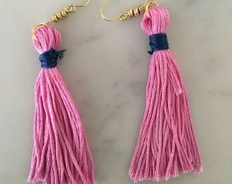 Pink and Navy Short Fringe