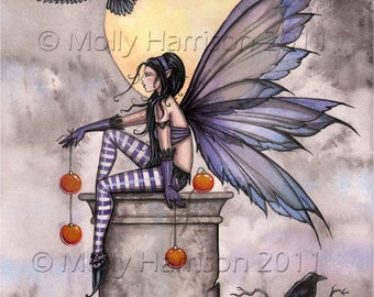 Fairy Art Fairy with Ravens Fine Art Fantasy Print of Watercolor Painting by Molly Harrison 9 x 12  'Autumn Raven'