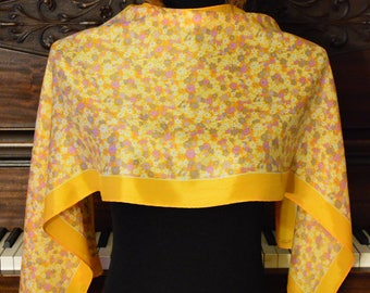 Yellow floral silky scarf