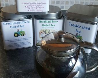 Loose leaf herbal tea blends in handy tea caddy tins