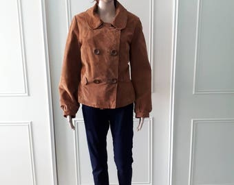 80's brown leather jacket fitted jacket Yessica jacket 1980's leather jacket 80's leather leather jacket ladies jacket size 16 (fit a 12/14)