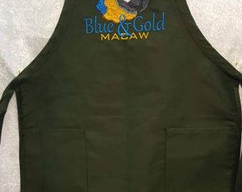 Blue & Gold Macaw Parrot Embroidered on an Apron