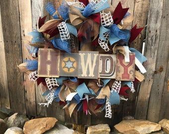 Rustic howdy wreath
