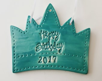 Large size Happy Birthday Crown Ornament | Personalized Gift | Ceramic | Custom Crown | Made to Order | Gift for Birthday | Clay Cake Topper