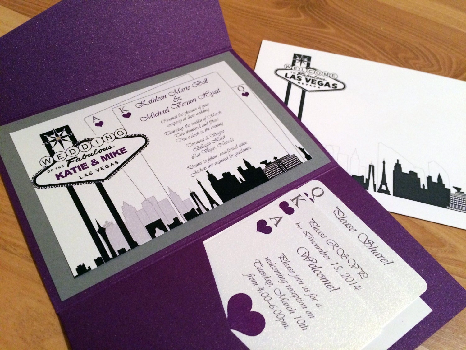 Las Vegas Wedding Invitation Wording: Elegant Las Vegas Themed Wedding Invitation-Custom Colors