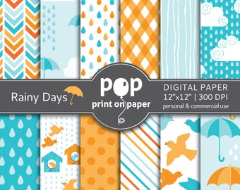 Bird digital paper RAINY DAYS rain digital paper, spring showers, umbrella, orange and blue colors, boy birthday theme, modern digital paper