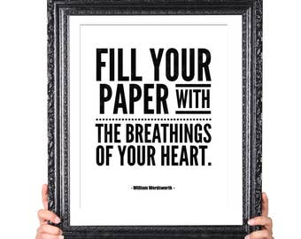 Breathings of Your Heart, Quote on Writing, Gift for Writer, Writer Quote, Literary Gifts, English Major Gift, Author Writer Inspiration