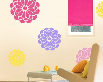 Flower Wall Decor Stencil Bold Bloom Wallpaper Effect Painting Stencils