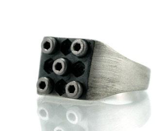 Industrial Silver Signet ring-Mechanic Ring-Urban Ring-Industrial Jewelry-For mechanic-For Architect-Wedding Ring-Hardware Ring-MJ