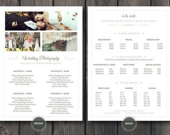 Wedding Photographer Pricing Guide / Price Sheet List 5x7 v3 - Photoshop PSD Template - Easy Editing: Change Colors, Photos and Details Fast