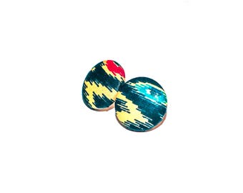 Rhapsody Fabric Covered Button Earrings