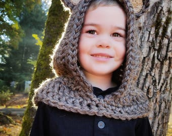 Grizzly Bear Hood: Bear Costume, Toddler Costume, Hooded Scarf, Cowl, Hood Costume, Montessori, Confidence Hoods, Character, Social Skills