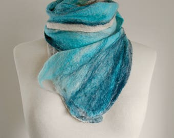 Felt scarf Felted scarf Felted wool scarf 'Winter Stream' Long slim scarf Gifts for her Pale Blue Scarf White scarf Cobweb Scarf Winter gift