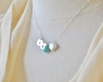 Personalized Birthstones Necklace with Hand Stamped Initials - Custom Mother's Necklace, Freshwater Pearl, Genuine Turquois