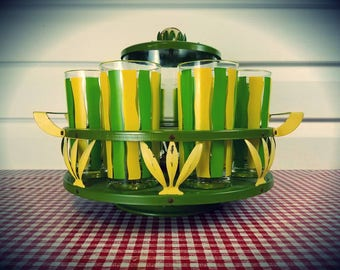 Vintage Glasses & Spinning Carousel (Caddy) and ice bucket