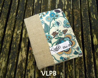 Beige linen and liberty Mabelle blue card holder