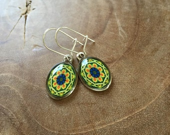 Mandala dangeling earrings: green, blue, yellow and red. Oval.