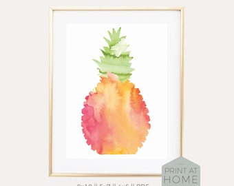 Watercolor Pineapple Printable Art Print - Palm Beach Chic Home Decor, Cheerful Nature Inspired Housewarming Gift,  Bright & Preppy