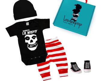 ROCKSTAR BABY KIT Daddy's Lil Misfit black onesie striped pants hat booties & optional gift box