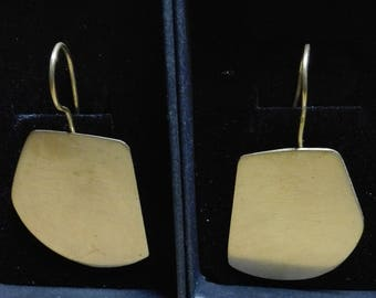 Dangle earrings geometric from metal covered with gold 18 kr.