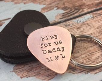 Rockin daddy style - Father's Day - Copper Guitar Pick - Gifts for Him -  Music Lover - play for us daddy - rustic guitar pick
