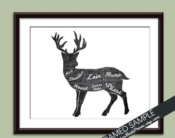 VENISON (Butcher Diagram Series) - Art Print (Featured in Vintage Chalkboard and White) Customizable Kitchen Prints