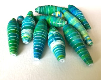 Hand Painted Green Paper Beads