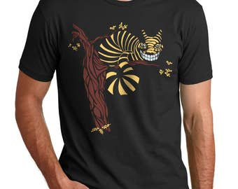 Alice im Wunderland T-shirt, Cheshire Cat T-Shirt, Herren grafische t-Shirt, Art T-shirt, Black Cat T-shirt