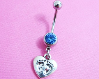 Baby Footprint on Heart - Baby Shower, Choose your color, Customized navel barbell