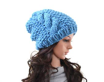 Chunky Slouchy Knit Cable Slouchy Hat Beanie Toque   The Duchess