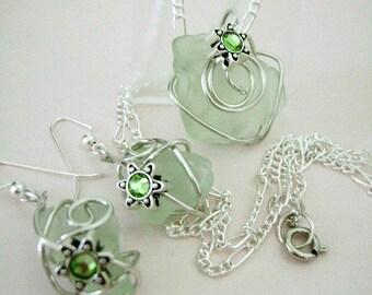 wedding sea glass necklace earring set