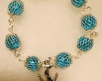 Sterling Silver Anchor Charm Beaded Bracelet