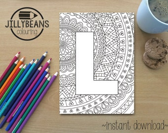 Colouring Pages Alphabet Printable : Hand drawn colouring page mandala alphabet letter