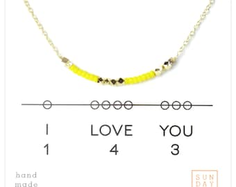 Secret Code Necklace - Friendship Necklace - I love you 143 Necklace - Yellow