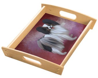 Papillion Dog Wood Serving Tray with Handles Natural