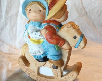 "Holly Hobbie ""Hobby-Horse Fun"" Porcelain Figurine, Robby Hobbie, Vintage, 1981"