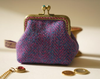 NEW Bronze metal frame coin purse/jewelry purse/turquoise rhinestones/fuchsia pink and blue herringbone/Harris tweed/ Liberty tana lawn