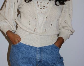 S 80's Bergdorf Goodman Cream Knit Sweater with Bishop Sleeves Bonnie and Bill New York Size Small