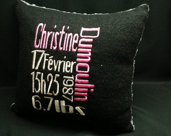 Birth announcement pillow / custom / embroidery