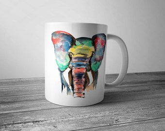 Coffee mug with elephant, elephant mug